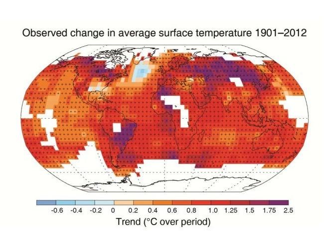 Изменения средней температуры в 1901-2012 годах