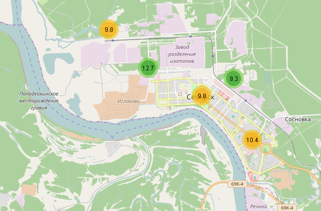 Радиационная обстановка в зоне расположения СХК