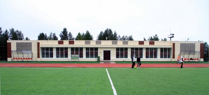 Павильон. Вид с поля на стадионе.