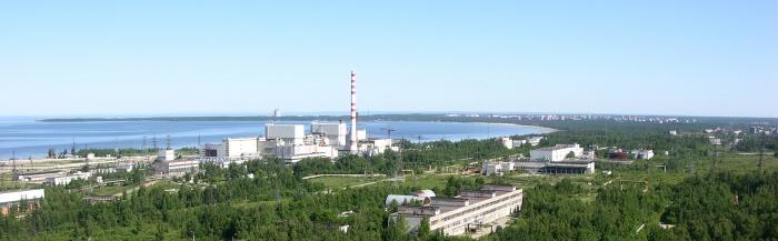 Ленинградская АЭС, вид на станцию и город Сосновый Бор