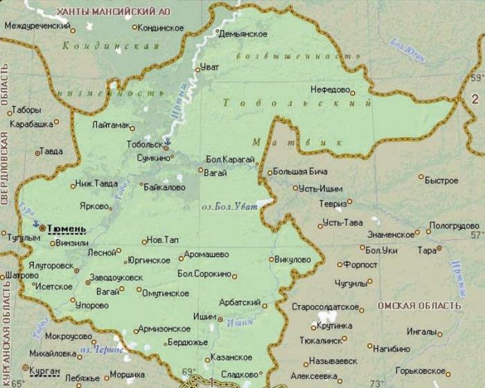 Подробная карта тюменской области на карте россии..