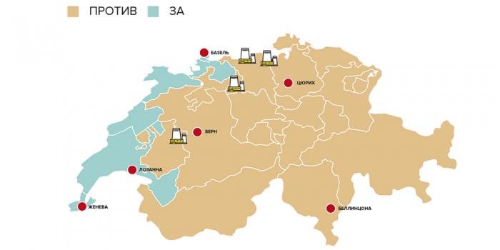 Распределение голосов по кантонам и площадки АЭС