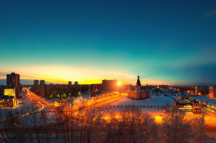 Вечерний город Десногорск зимой